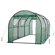Ogrow 2-Door Walk-in Tunnel Greenhouse with Ventilation Windows - White