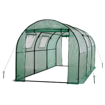 Ogrow 2-Door Walk-in Tunnel Greenhouse with Ventilation Windows - Whit