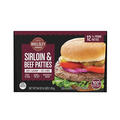 Wellsley Farms Sirloin and Beef Patties, 12 pk./0.33 lb.