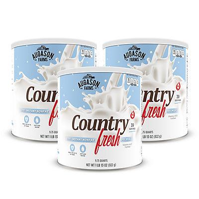 Augason Farms 100% Real Instant Nonfat Dry Milk #10 Can, 3 pk./9.75 qt