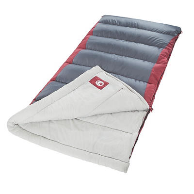 Coleman Autumn Glen Big and Tall Adult Sleeping Bag - Gray/Red