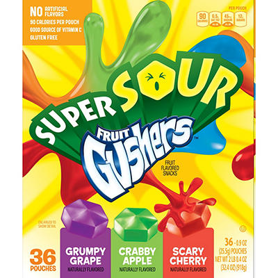 Betty Crocker Super Sour Fruit Gushers, 36 ct.