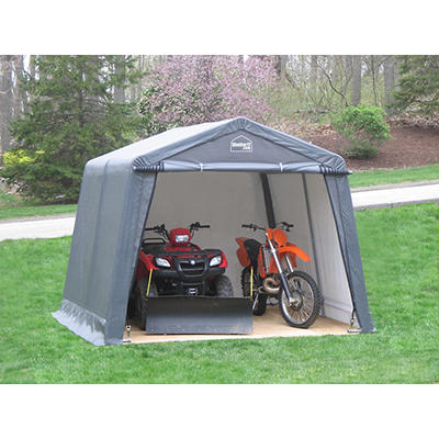 Shelter-It 10' x 10' Steel/Fabric Instant Garage - Gray/White