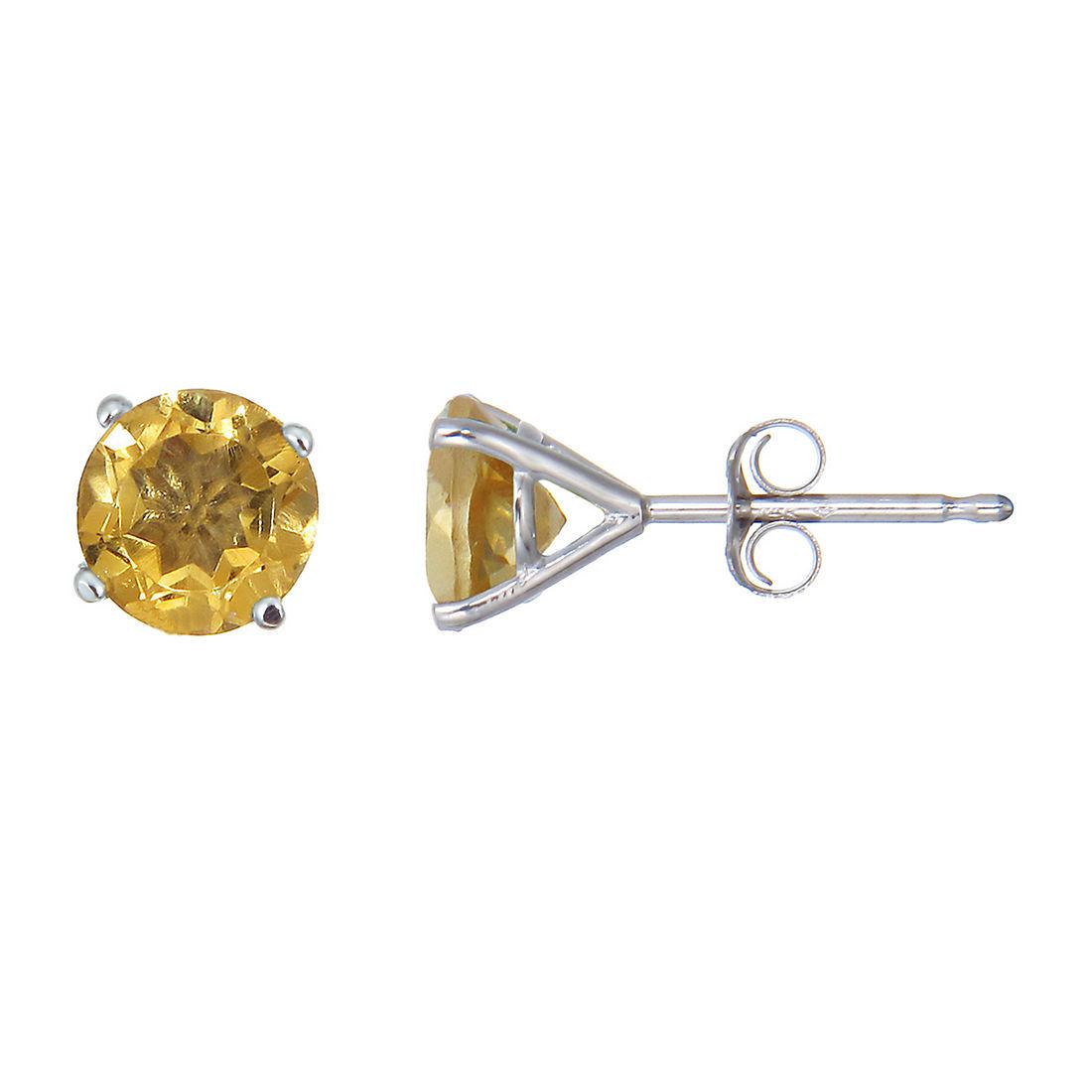 Amairah 1 80 Ct T W Citrine Stud Earrings In 14k White Gold