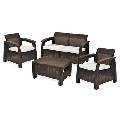 Keter Corfu 4-Pc. Conversation Set - Whiskey Brown