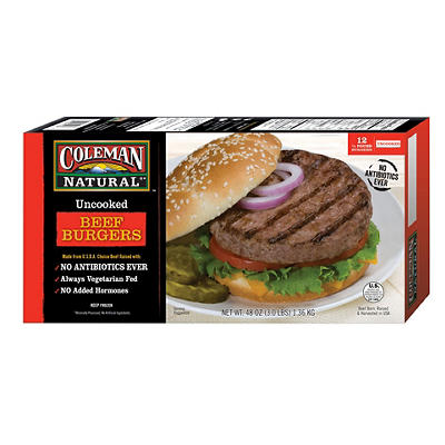 Coleman Natural Ready-To-Cook Frozen Beef Burgers, 3 lbs.
