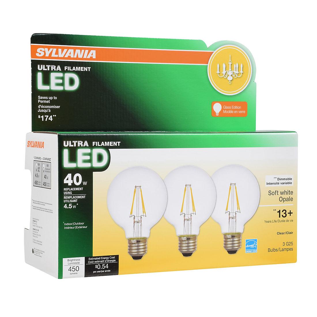 Sylvania 40w Equivalent Led G24 Light Bulbs 3 Pk Soft White