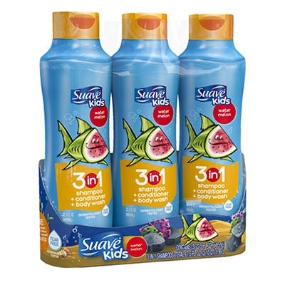 Suave Kids Watermelon 3 in 1 Shampoo, Conditioner and Body Wash, 3 pk.
