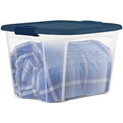 Bella 30-Gal. Tote with Locking Lid - Clear/Blue