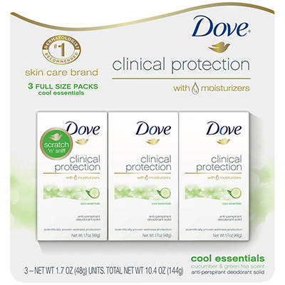 Dove Clinical Protection Cool Essentials Antiperspirant Deodorant, 3 p