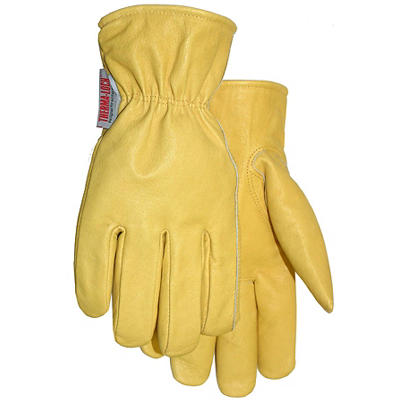 MidWest Gloves & Gear Lined Leather Winter Work Gloves - Yellow