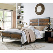 W. Trends Queen-Size Plank Bed - Brown