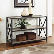 "W. Trends 40"" 3-Shelf Metal and Wood X-Frame Media Bookshelf - Driftwood"