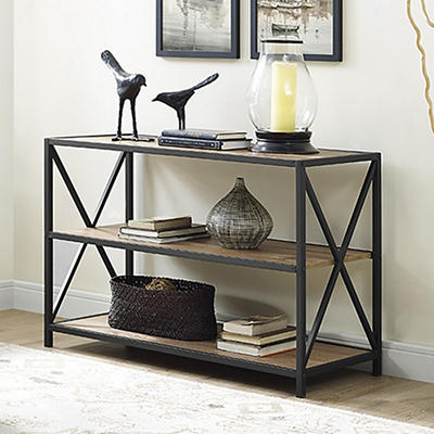 "W. Trends 40"" 3-Shelf Metal and Wood X-Frame Media Bookshelf - Barnwoo"