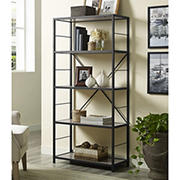 "W. Trends 60"" 5-Shelf Rustic Metal and Wood Media Bookshelf - Driftwood"