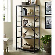 "W. Trends 60"" 5-Shelf Rustic Metal and Wood Media Bookshelf - Driftwood"