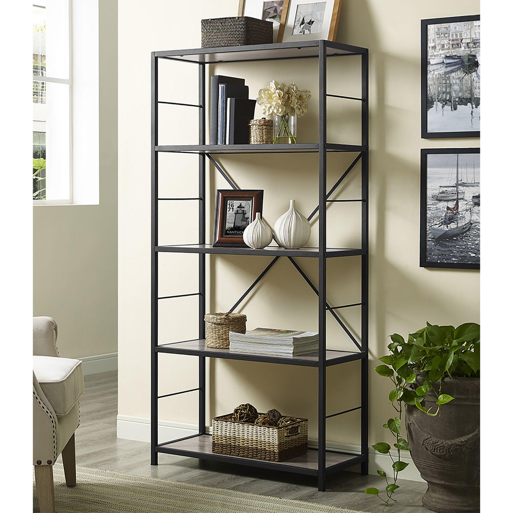 W Trends 60 5 Shelf Rustic Metal And Wood Media Bookshelf Driftwood