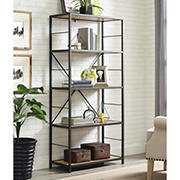 "W. Trends 60"" 5-Shelf Rustic Metal and Wood Media Bookshelf - Barnwood"