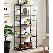 "W. Trends 60"" 5-Shelf Rustic Metal and Wood Media Bookshelf - Barnwood"