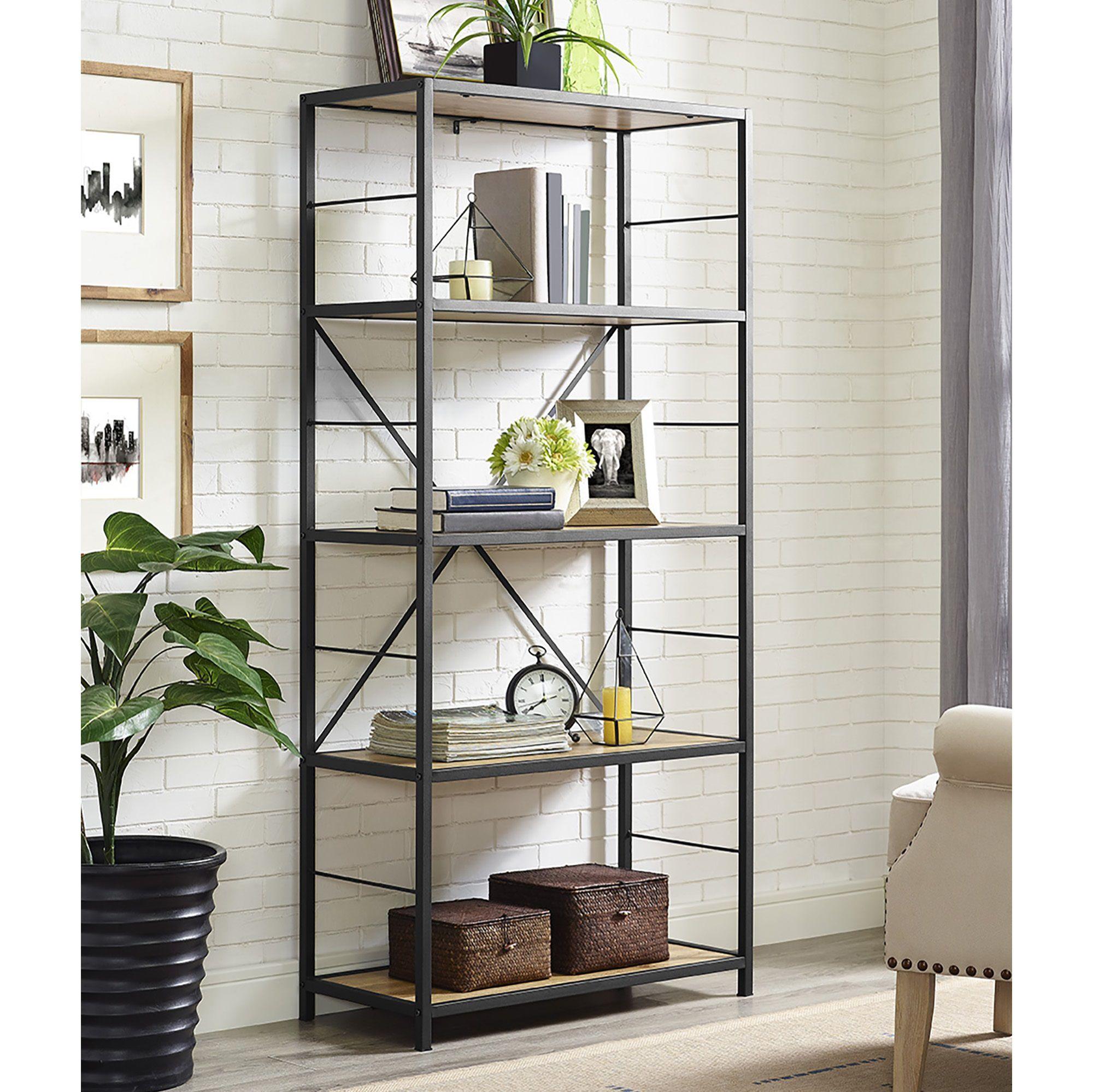W Trends 60 5 Shelf Rustic Metal And Wood Media Bookshelf Barnwood