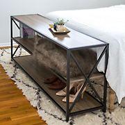 "W. Trends 60"" 3-Shelf Metal and Wood X-Frame Media Bookshelf - Driftwood"