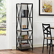 "W. Trends X-Frame 61"" 5-Shelf Metal and Wood Media Bookshelf - Driftwood"