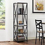 "W. Trends X-Frame 61"" 5-Shelf Metal and Wood Media Bookshelf - Driftwood"