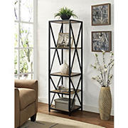 "W. Trends X-Frame 61"" 5-Shelf Metal and Wood Media Bookshelf - Barnwood"