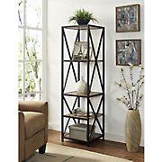 "W. Trends X-Frame 61"" 5-Shelf Metal and Wood Media Bookshelf - Barnwood"