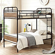 W. Trends Twin-Size Metal and Wood Bunk Bed - Black