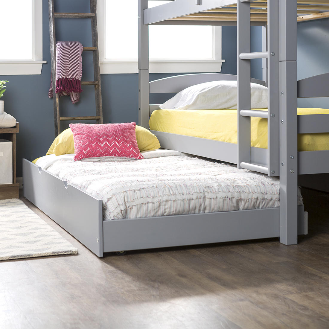 competitive price 7ab52 4d26d W. Trends Twin-Size Solid Wood Trundle Bed - Gray