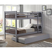 W. Trends Twin-Size Solid Wood Bunk Bed with Trundle - Gray