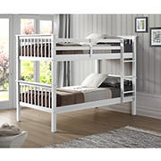 W. Trends Twin-Size Solid Wood Mission Bunk Bed - White