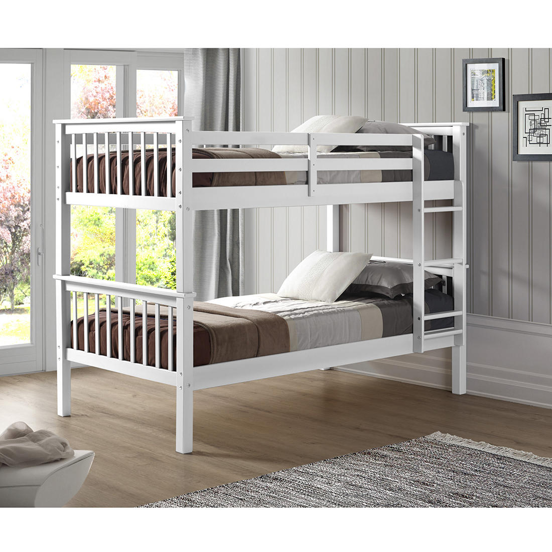 W Trends Twin Size Solid Wood Mission Bunk Bed White