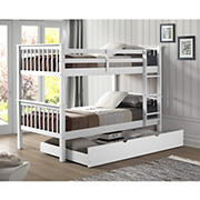 W. Trends Twin-Size Solid Wood Bunk Bed with Trundle - White