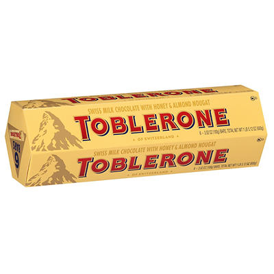Toblerone Swiss Milk Chocolate with Honey & Almond Nougat, 6 ct./3.52