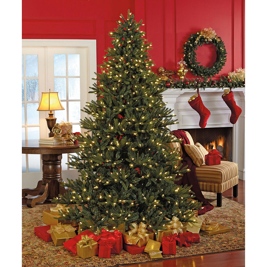 How Many Lights Per Foot Of Christmas Tree.Sylvania 7 5 8 Function Color Changing Prelit Led Tree With Foot Pedal
