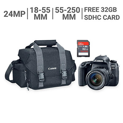 Canon EOS 77D 24MP CMOS DSLR Camera Bundle with 18-55mm and 55-250 Lenses, 32GB SDHC Card, Gadget Bag
