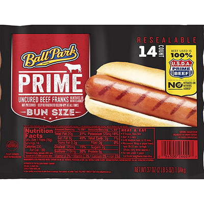 Ball Park Bun Size Length Prime Beef Hot Dogs, 14 ct.