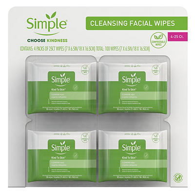 Simple Cleansing Facial Wipes, 4 pk./25 ct.