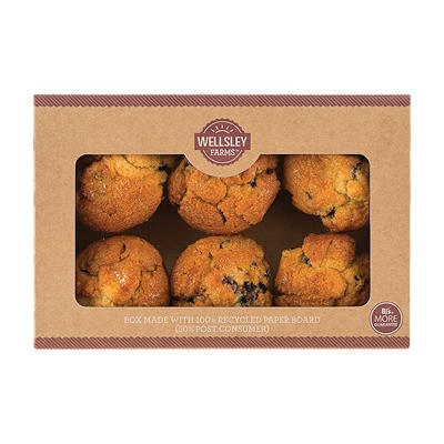 Wellsley Farms Blueberry Muffins, 6 ct./6 oz.