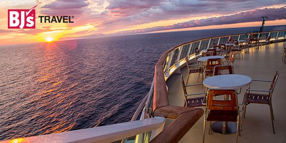 cruise ship deck with sunset background