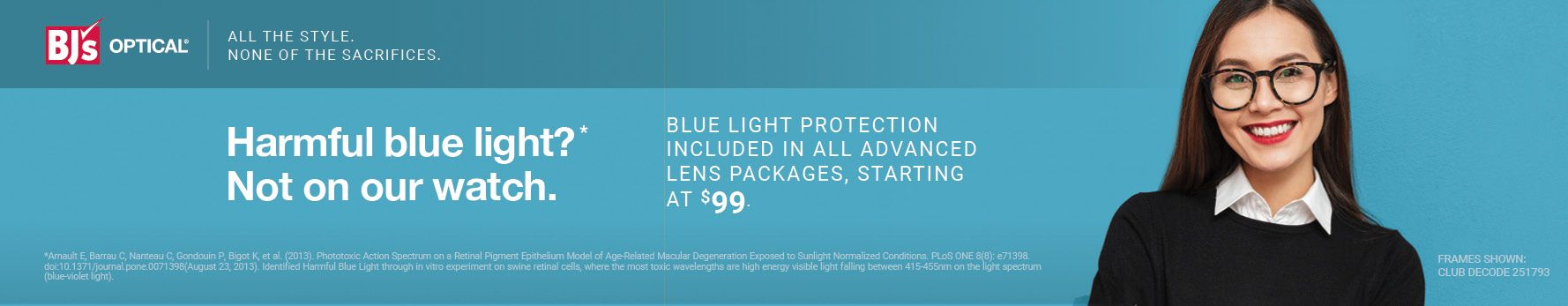 Blue light protection included in all advanced lens packages, starting at $99.