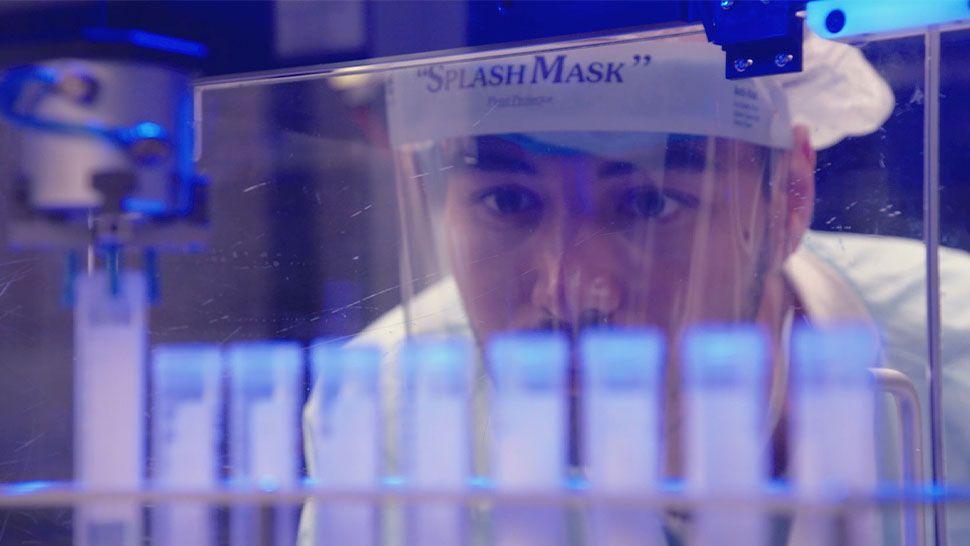 Lab Technician examining test tubes